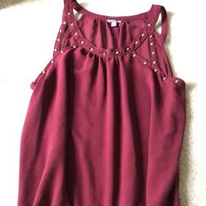 Burgundy blouse and cami set